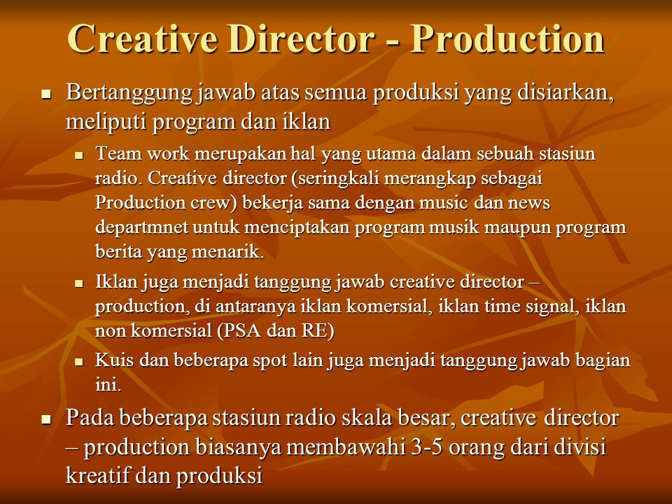Creative Director - Production