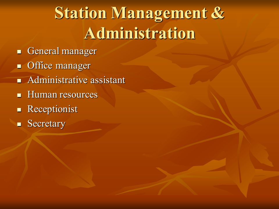 Station Management & Administration