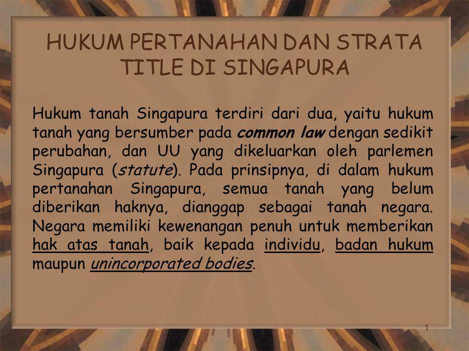 HUKUM PERTANAHAN DAN STRATA TITLE DI SINGAPURA