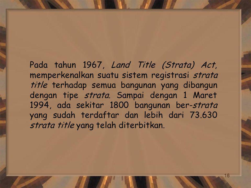 Pada tahun 1967, Land Title (Strata) Act, memperkenalkan suatu sistem registrasi strata title terhadap semua bangunan yang dibangun dengan tipe strata.