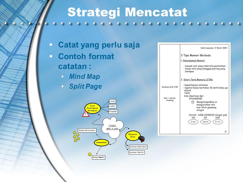 Strategi Mencatat Catat yang perlu saja Contoh format catatan :