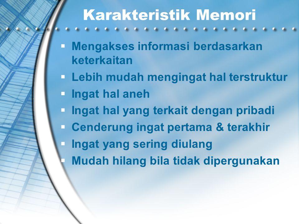 Karakteristik Memori Mengakses informasi berdasarkan keterkaitan