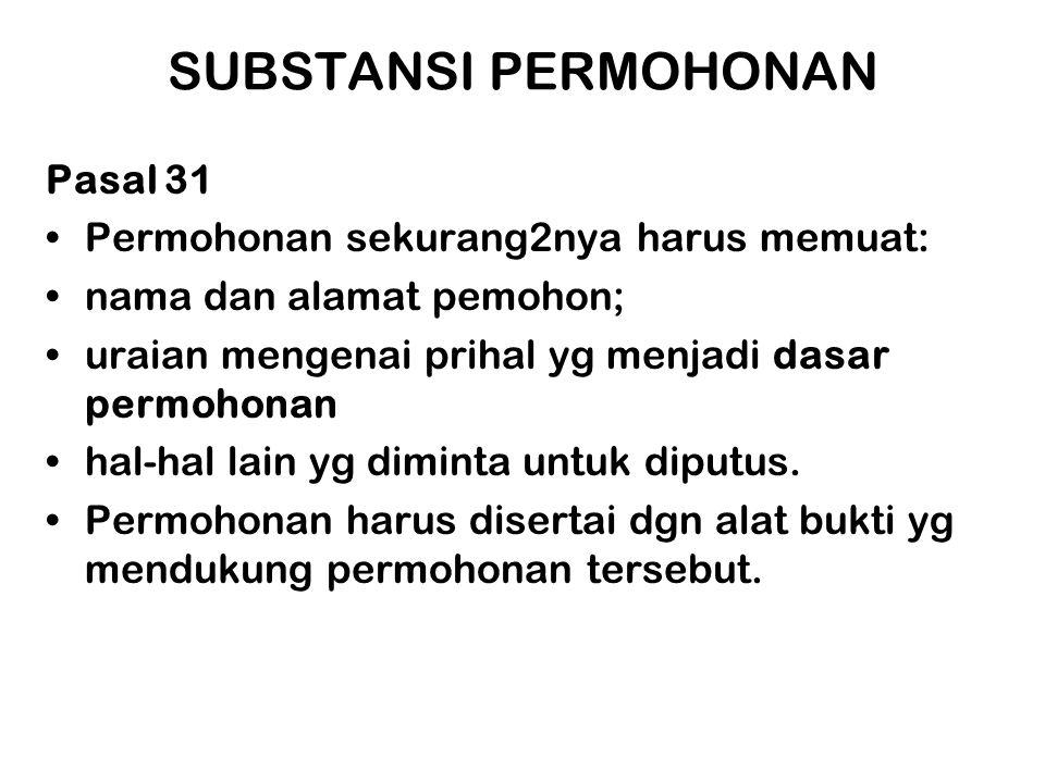 SUBSTANSI PERMOHONAN Pasal 31 Permohonan sekurang2nya harus memuat: