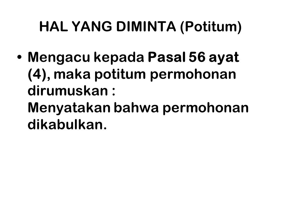HAL YANG DIMINTA (Potitum)