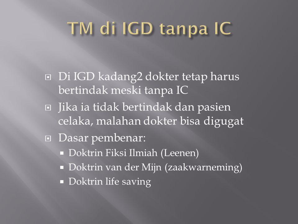 TM di IGD tanpa IC Di IGD kadang2 dokter tetap harus bertindak meski tanpa IC.