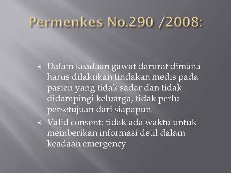 Permenkes No.290 /2008: