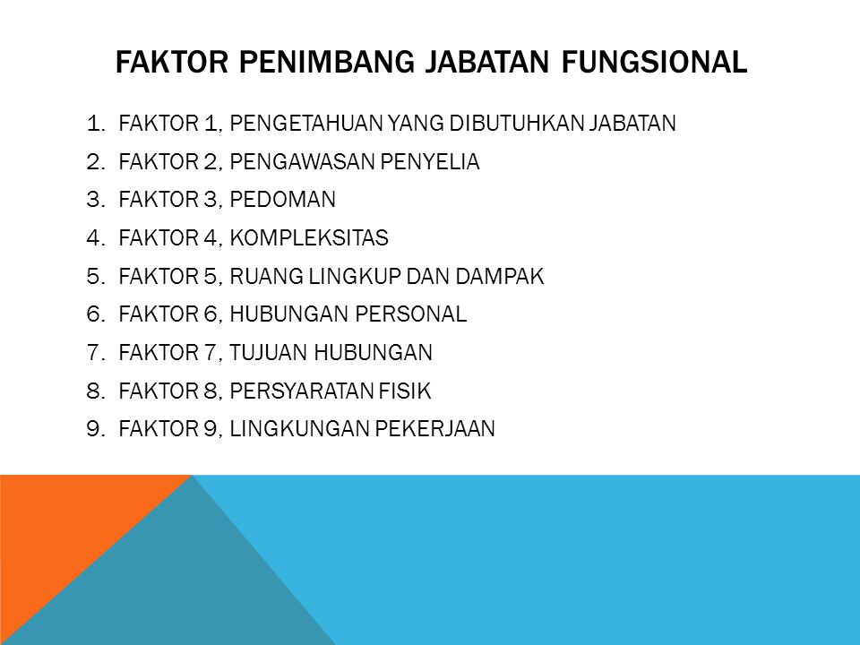 FAKTOR PENIMBANG JABATAN FUNGSIONAL