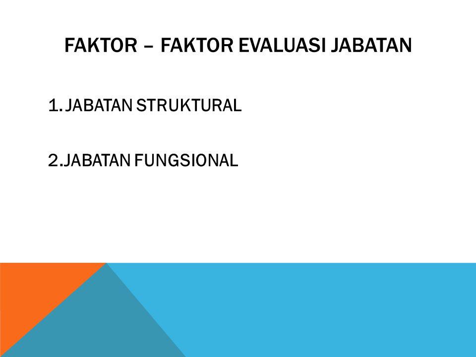 Faktor – faktor evaluasi jabatan