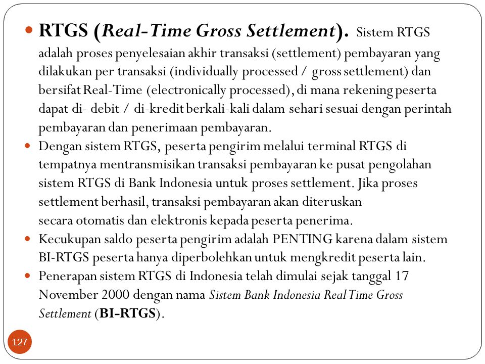 RTGS (Real-Time Gross Settlement)