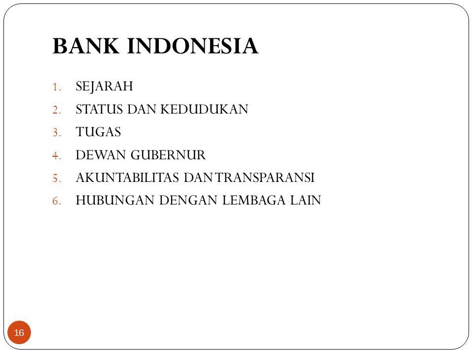 BANK INDONESIA SEJARAH STATUS DAN KEDUDUKAN TUGAS DEWAN GUBERNUR