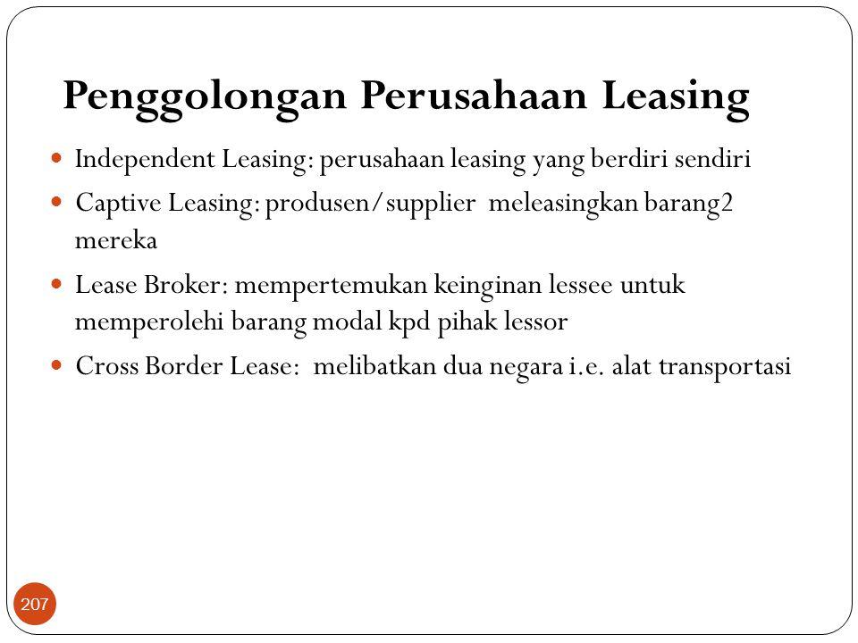 Penggolongan Perusahaan Leasing