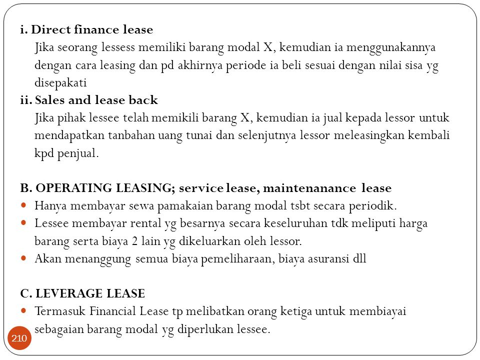 i. Direct finance lease