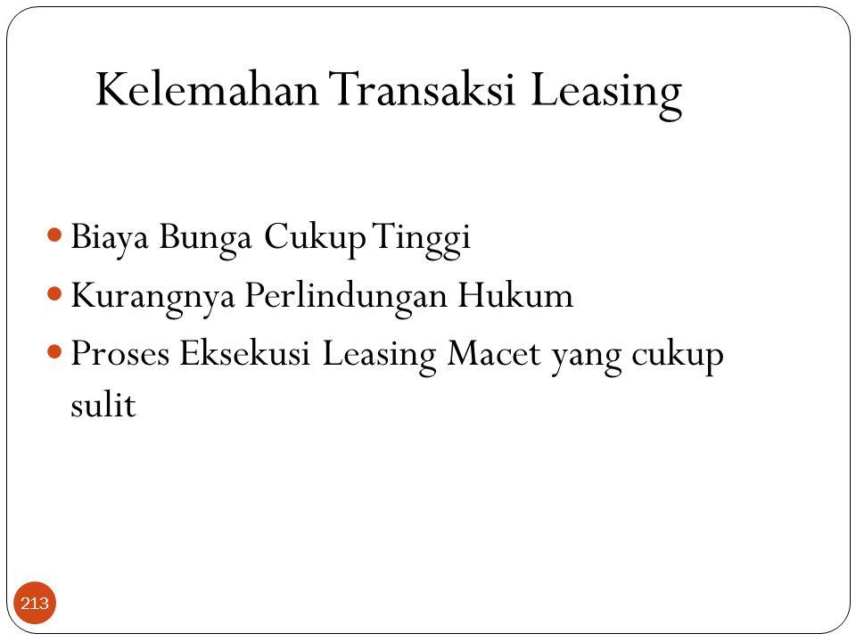 Kelemahan Transaksi Leasing