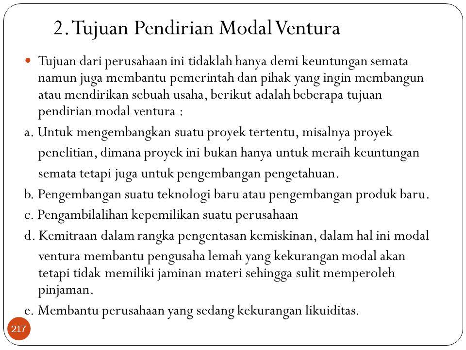 2. Tujuan Pendirian Modal Ventura