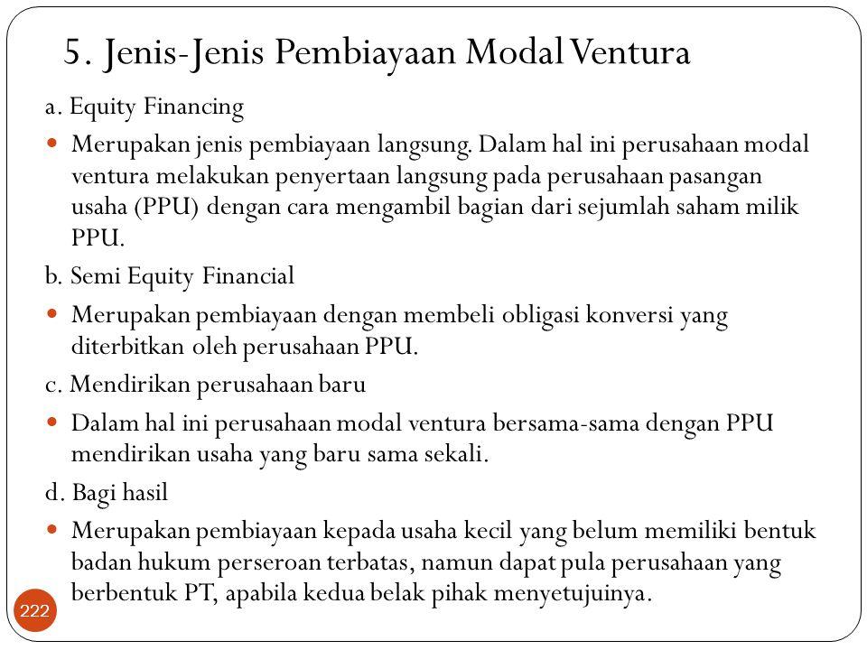 5. Jenis-Jenis Pembiayaan Modal Ventura
