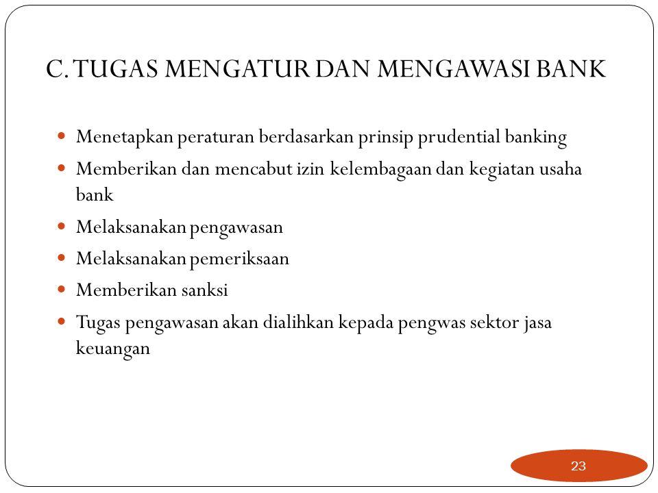 C. TUGAS MENGATUR DAN MENGAWASI BANK