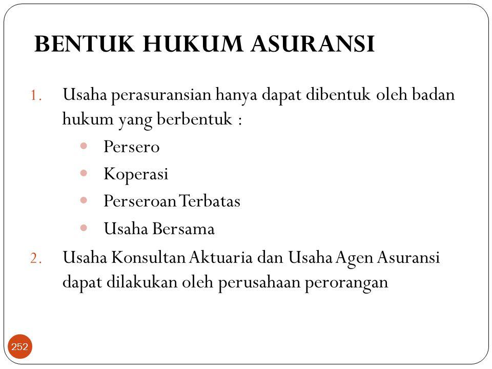 BENTUK HUKUM ASURANSI Usaha perasuransian hanya dapat dibentuk oleh badan hukum yang berbentuk : Persero.