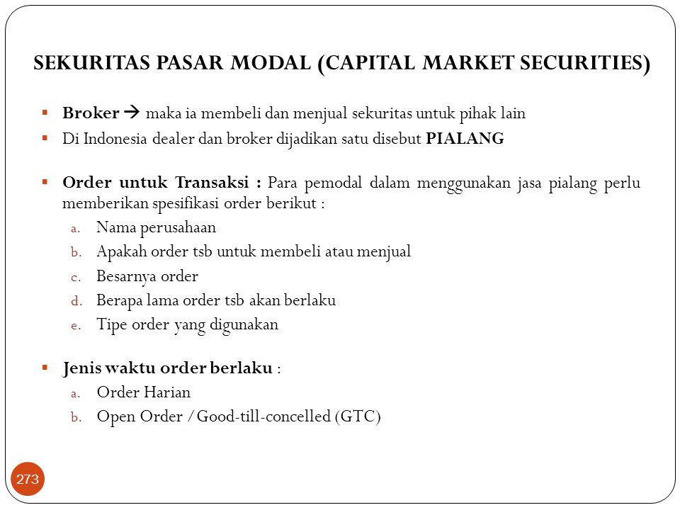SEKURITAS PASAR MODAL (CAPITAL MARKET SECURITIES)