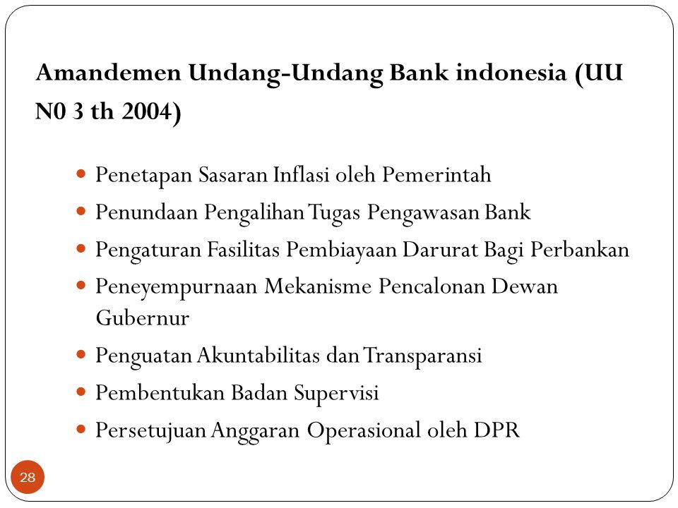 Amandemen Undang-Undang Bank indonesia (UU N0 3 th 2004)