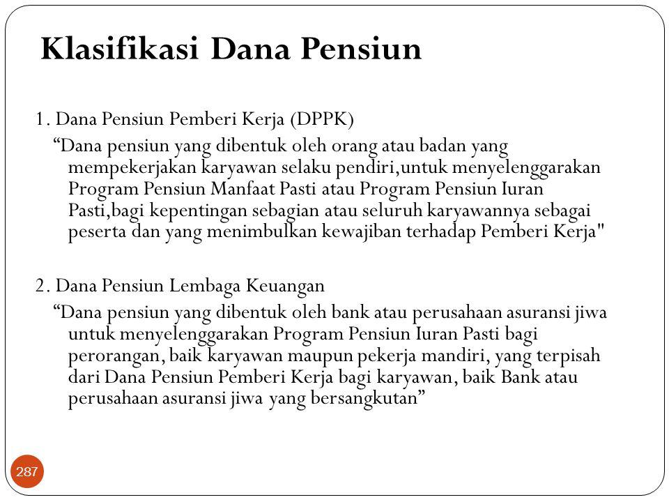 Klasifikasi Dana Pensiun