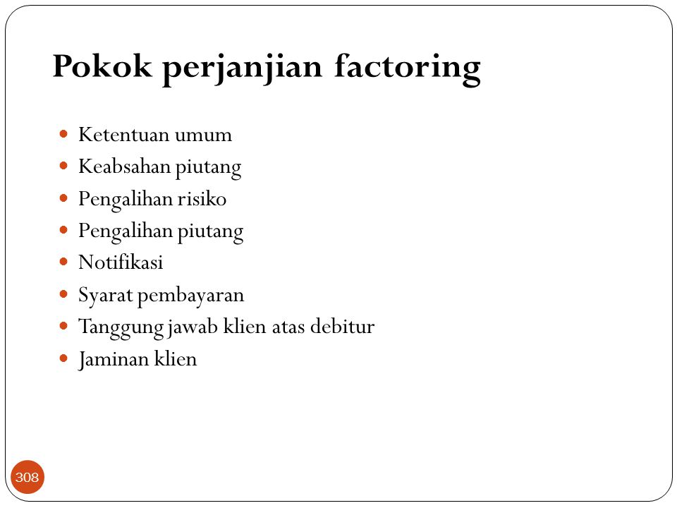 Pokok perjanjian factoring