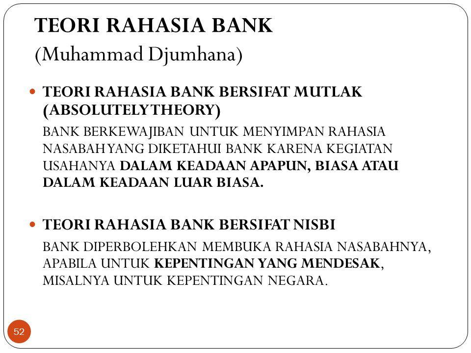 TEORI RAHASIA BANK (Muhammad Djumhana)