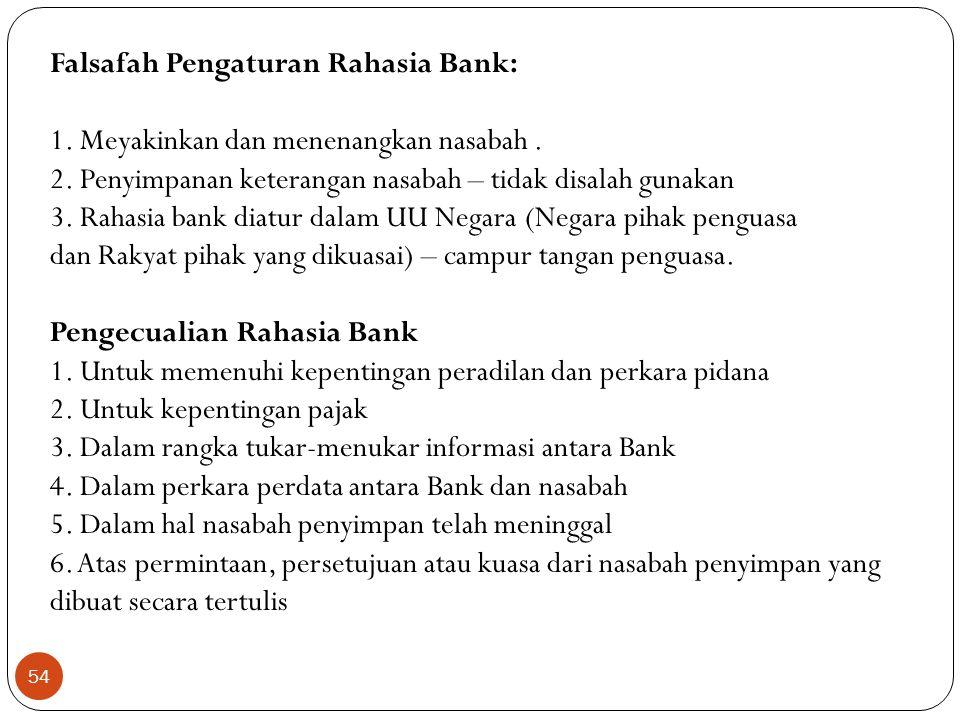 Falsafah Pengaturan Rahasia Bank: 1. Meyakinkan dan menenangkan nasabah .