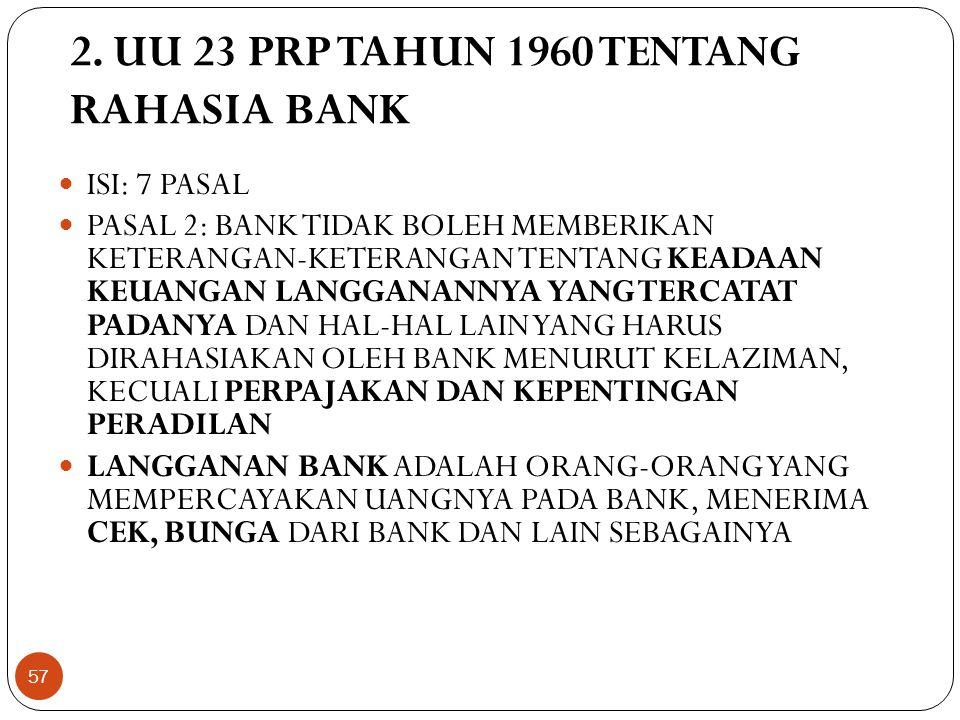 2. UU 23 PRP TAHUN 1960 TENTANG RAHASIA BANK