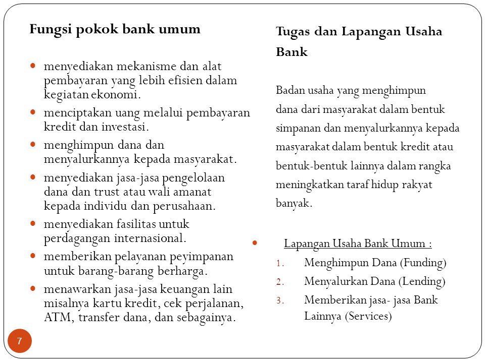 Fungsi pokok bank umum Tugas dan Lapangan Usaha Bank