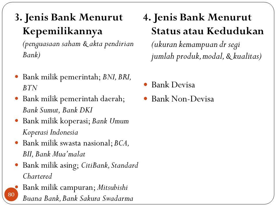 3. Jenis Bank Menurut Kepemilikannya (penguasaan saham & akta pendirian Bank)