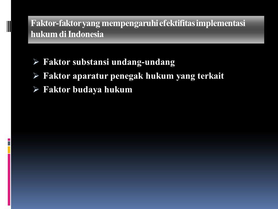 Faktor-faktor yang mempengaruhi efektifitas implementasi hukum di Indonesia