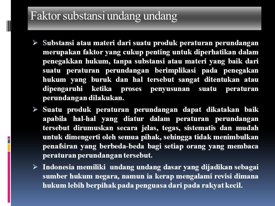 Faktor substansi undang undang