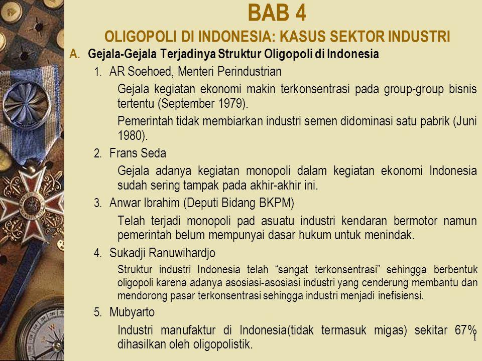 BAB 4 OLIGOPOLI DI INDONESIA: KASUS SEKTOR INDUSTRI