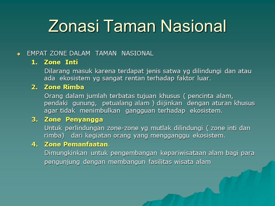 Zonasi Taman Nasional EMPAT ZONE DALAM TAMAN NASIONAL 1. Zone Inti