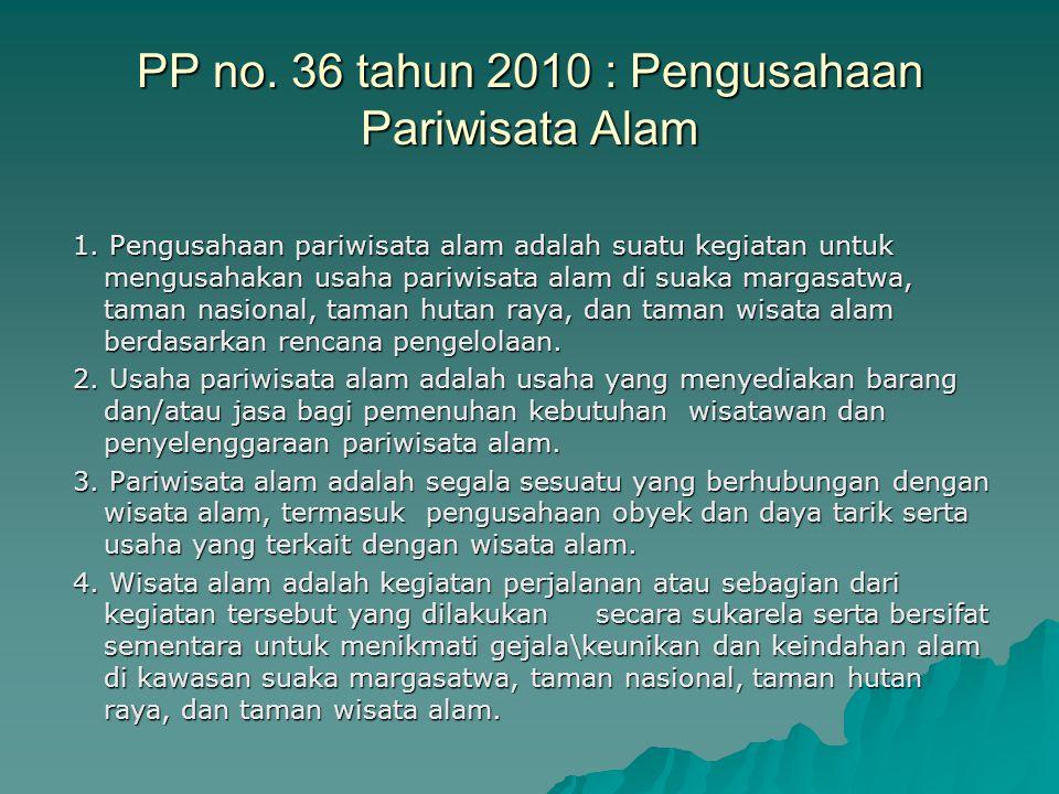 PP no. 36 tahun 2010 : Pengusahaan Pariwisata Alam