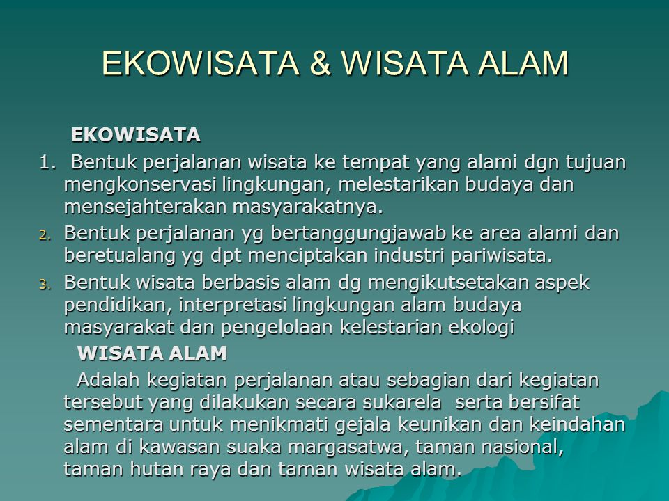 EKOWISATA & WISATA ALAM