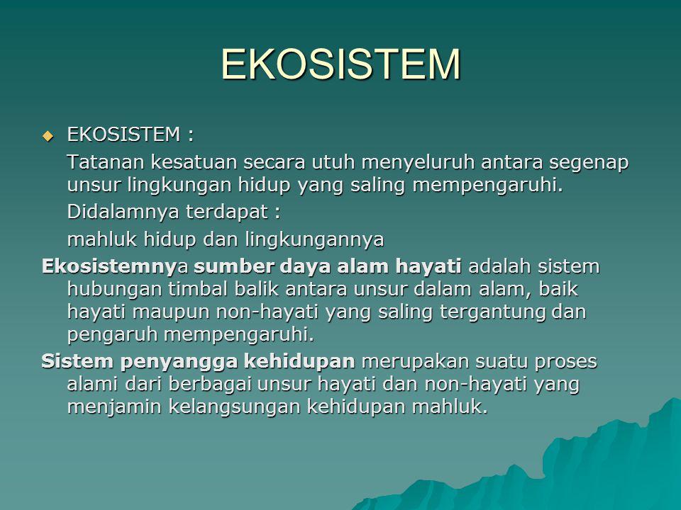 EKOSISTEM EKOSISTEM : Tatanan kesatuan secara utuh menyeluruh antara segenap unsur lingkungan hidup yang saling mempengaruhi.