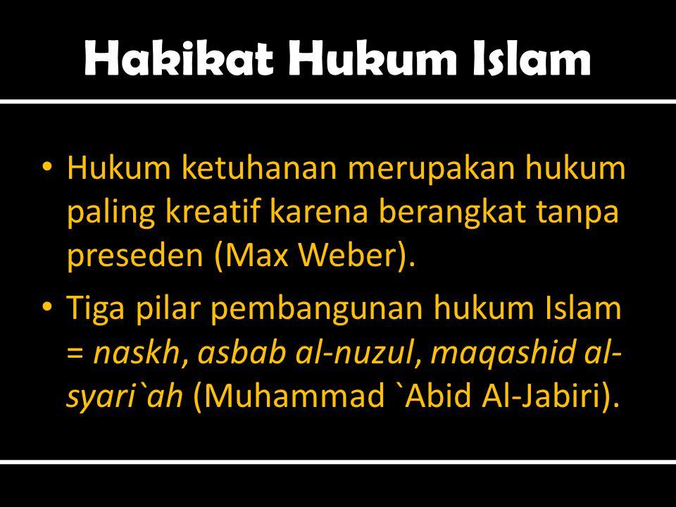 Hakikat Hukum Islam Hukum ketuhanan merupakan hukum paling kreatif karena berangkat tanpa preseden (Max Weber).