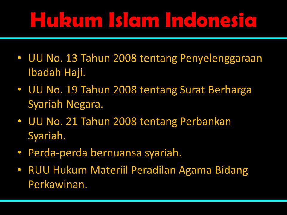 Hukum Islam Indonesia UU No. 13 Tahun 2008 tentang Penyelenggaraan Ibadah Haji. UU No. 19 Tahun 2008 tentang Surat Berharga Syariah Negara.