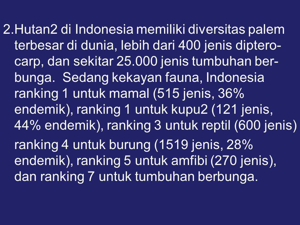 2.Hutan2 di Indonesia memiliki diversitas palem terbesar di dunia, lebih dari 400 jenis diptero-carp, dan sekitar 25.000 jenis tumbuhan ber-bunga. Sedang kekayan fauna, Indonesia ranking 1 untuk mamal (515 jenis, 36% endemik), ranking 1 untuk kupu2 (121 jenis, 44% endemik), ranking 3 untuk reptil (600 jenis)