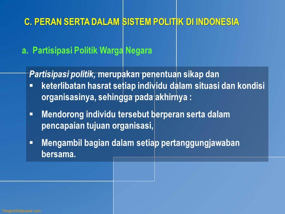 C. PERAN SERTA DALAM SISTEM POLITIK DI INDONESIA