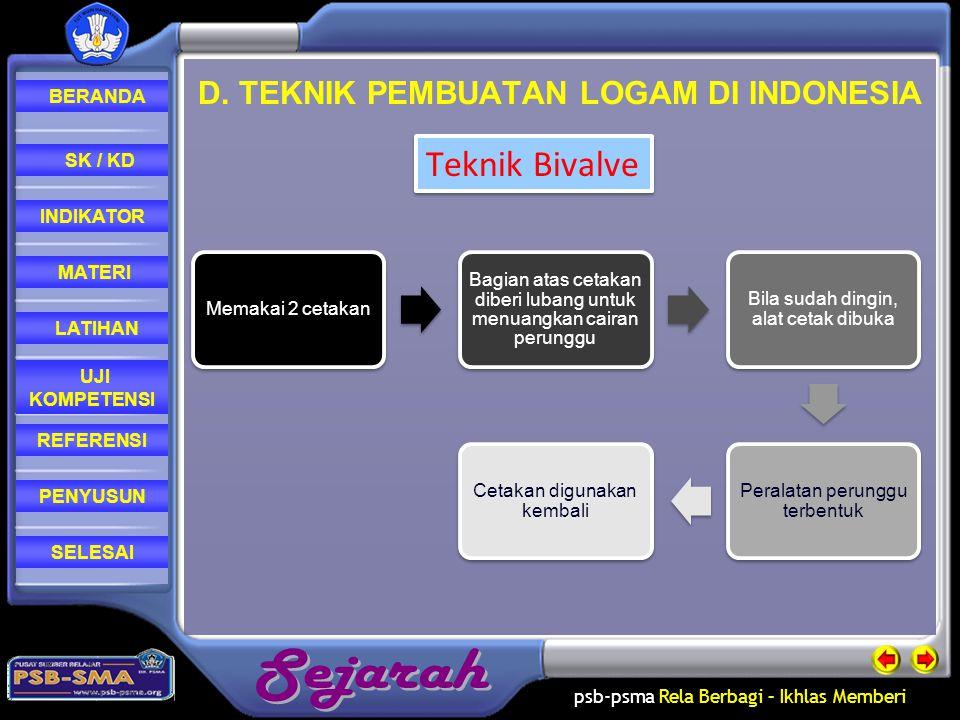 D. TEKNIK PEMBUATAN LOGAM DI INDONESIA