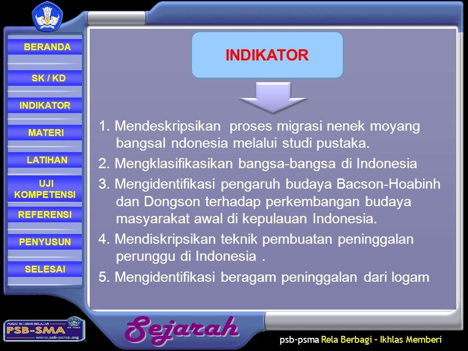 INDIKATOR 1. Mendeskripsikan proses migrasi nenek moyang bangsaI ndonesia melalui studi pustaka. 2. Mengklasifikasikan bangsa-bangsa di Indonesia.