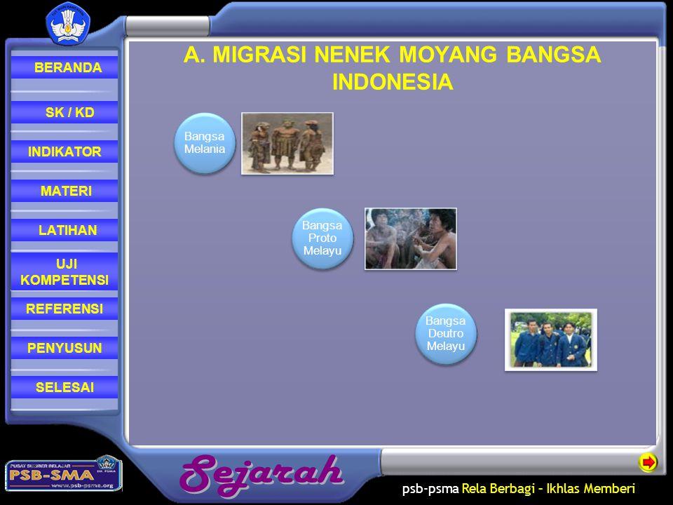 A. MIGRASI NENEK MOYANG BANGSA INDONESIA