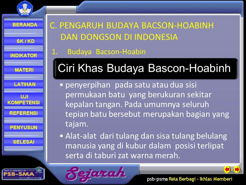 C. PENGARUH BUDAYA BACSON-HOABINH DAN DONGSON DI INDONESIA
