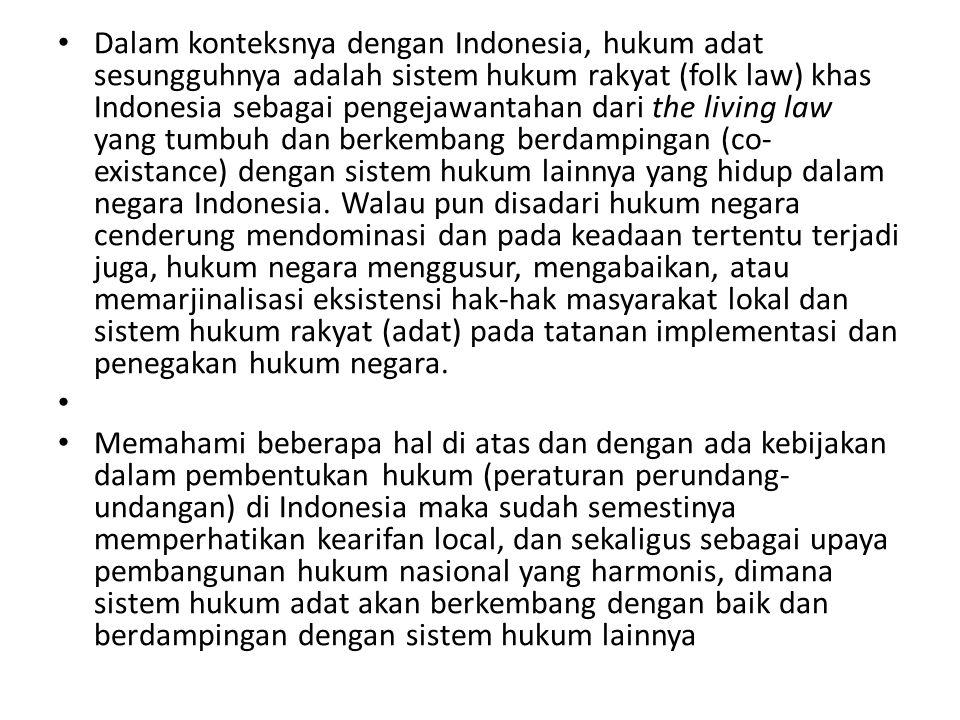 Dalam konteksnya dengan Indonesia, hukum adat sesungguhnya adalah sistem hukum rakyat (folk law) khas Indonesia sebagai pengejawantahan dari the living law yang tumbuh dan berkembang berdampingan (co-existance) dengan sistem hukum lainnya yang hidup dalam negara Indonesia. Walau pun disadari hukum negara cenderung mendominasi dan pada keadaan tertentu terjadi juga, hukum negara menggusur, mengabaikan, atau memarjinalisasi eksistensi hak-hak masyarakat lokal dan sistem hukum rakyat (adat) pada tatanan implementasi dan penegakan hukum negara.