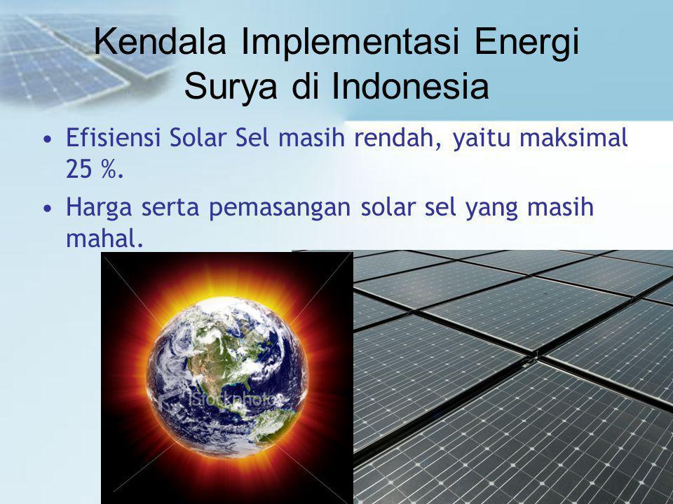 Kendala Implementasi Energi Surya di Indonesia