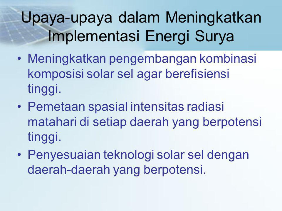 Upaya-upaya dalam Meningkatkan Implementasi Energi Surya
