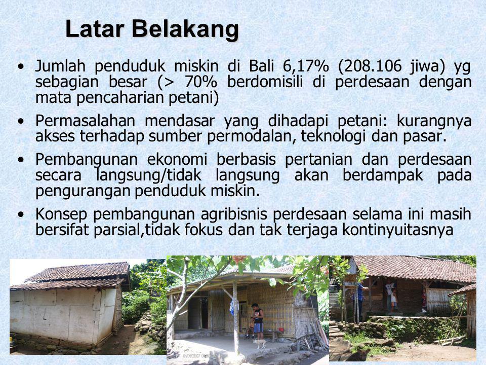 Latar Belakang Jumlah penduduk miskin di Bali 6,17% (208.106 jiwa) yg sebagian besar (> 70% berdomisili di perdesaan dengan mata pencaharian petani)