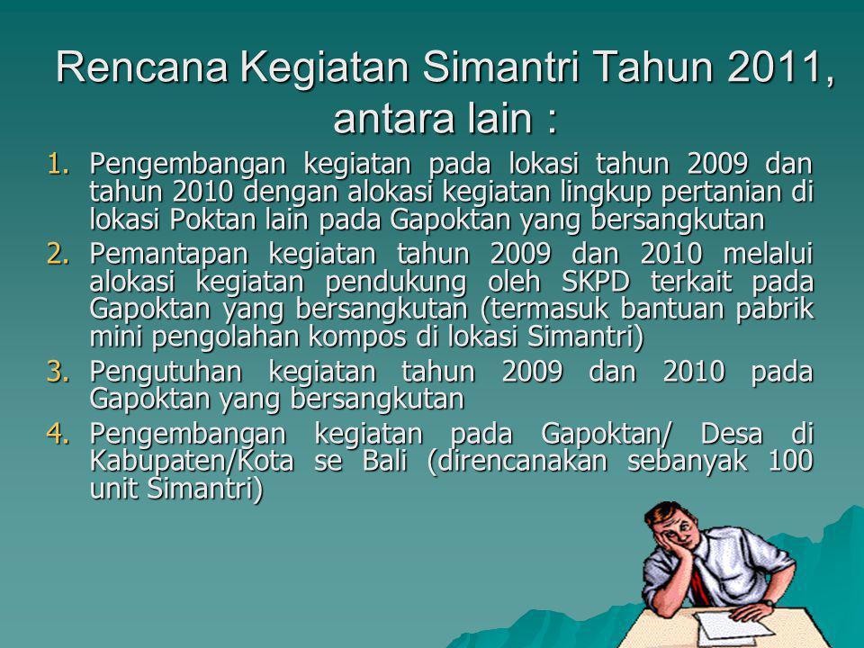 Rencana Kegiatan Simantri Tahun 2011, antara lain :